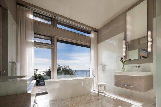 Neutral Modern Spa Bathroom With Ocean View