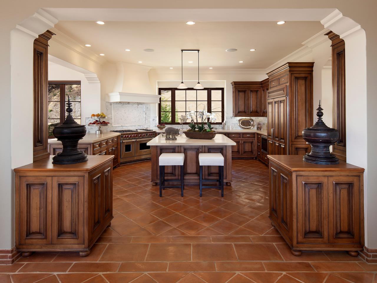 Open Kitchen With Red Clay Tile Floors