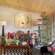 Family Christmas in French Country Living Room