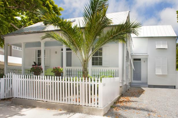 White Tropical Exterior With Fence