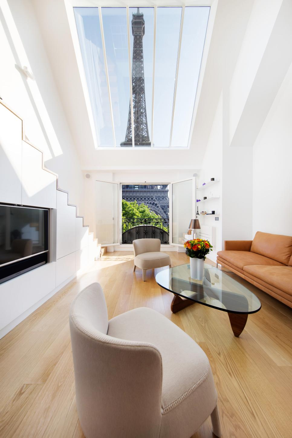 White Paris Apartment Living Room