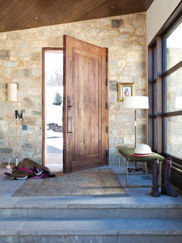 Mountain Home With Rustic Stone Entrance