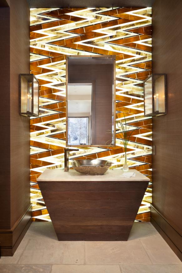 Contemporary Powder Room With Zigzag Patterned Backsplash