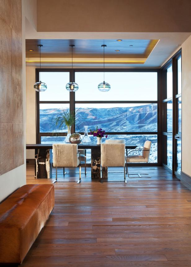 Contemporary Dining Room With Mountain View