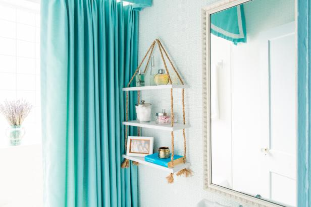 DIY Suspended Rope Shelf