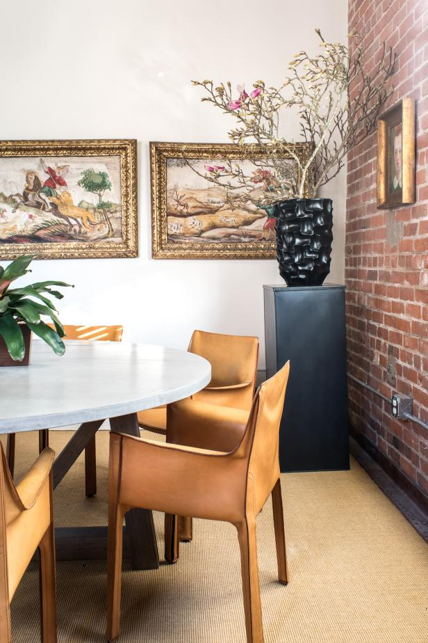 Antique Art Collection and Concrete Table in Conference Room