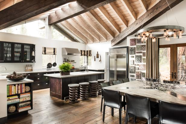 Rustic Open Plan Kitchen With Exposed Beams