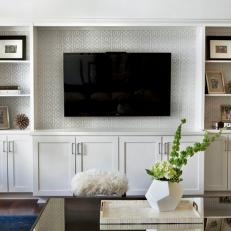 Transitional Living Room With Built In Entertainment Center