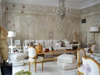 Victorian-Inspired Parlor With Woodland Wallpaper