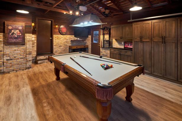 Brown Rustic Game Room With Pool Table Hgtv
