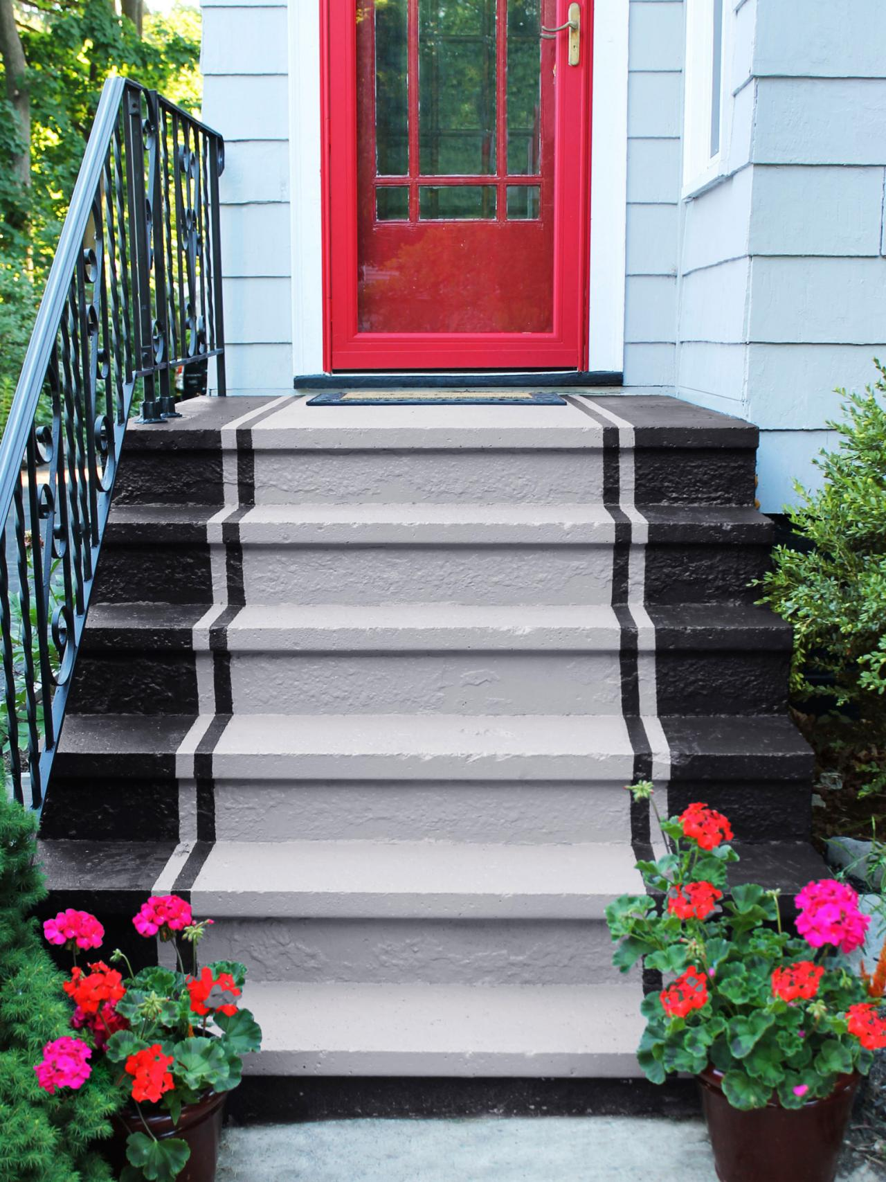 concrete painting and steps ideas porch