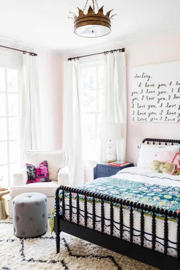 Pink Transitional Girl S Bedroom With Crown Light Hgtv