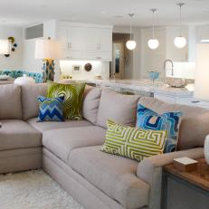 Open Plan Living Room With Beige Sectional