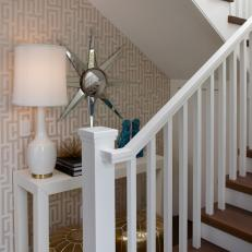 Wall Under Stairs With Patterned Wallpaper