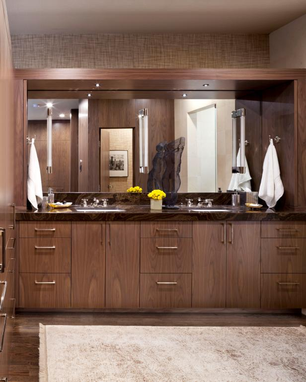 Contemporary Bathroom With Wood Paneling