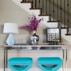 Silver Console Table With Blue Stools