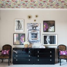 Multicolored Master Bedroom With Black Dresser