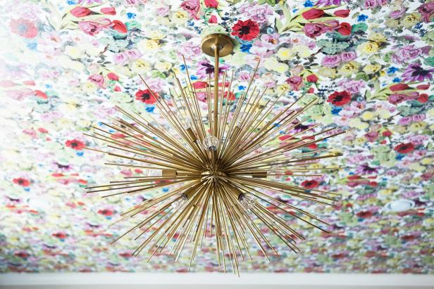 Floral Ceiling and Gold Light