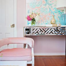 Pink Art Deco Foyer With Mirrored Table