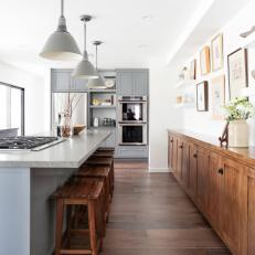 Contemporary Kitchen With Pendant Lights