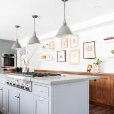Galley Kitchen With Gray Pendant Lights