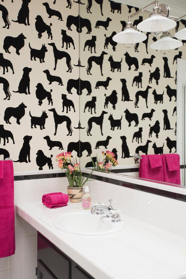 Eclectic Bathroom With Dog-Themed Wallpaper