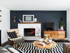 Charcoal Accent Wall in Midcentury Modern Living Room