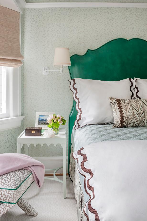 Green Transitional Bedroom