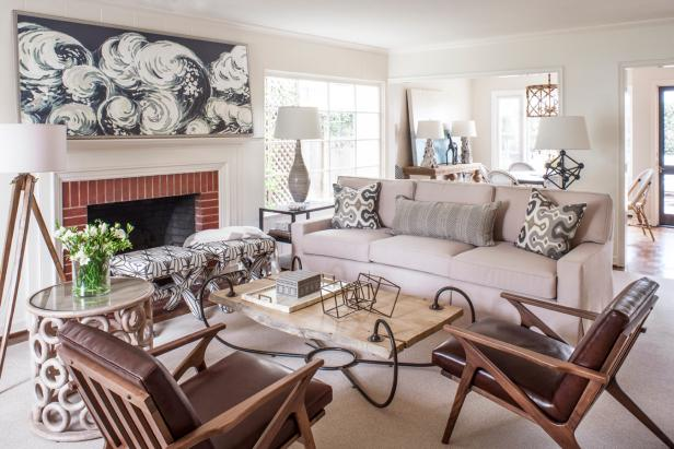 Spacious transitional living room with traditional neutral - Interior design school newport beach ...