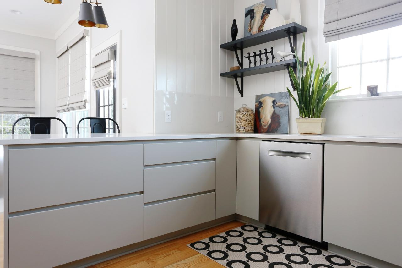 Sleek Gray Cabinets in Transitional Kitchen   HGTV