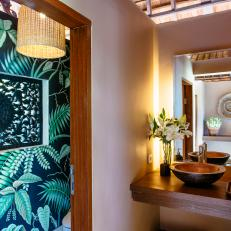 Tropical bathroom lighting Themed Tropical Powder Room With Cove Lighting Hgtv Photo Library Neutral Tropical Bathroom Photos Hgtv
