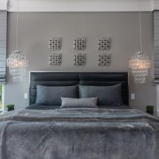 Gray Contemporary Master Bedroom With Pendant Lights