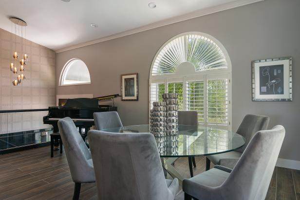 Piano and Glass Table in Dining Room