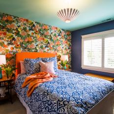 Bold Bedroom With Floral Accent Wall