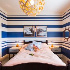 Boy's Room Features Blue & White Striped Walls