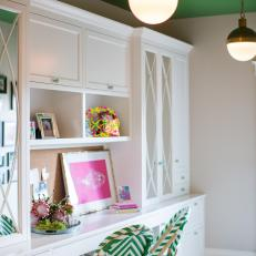 Study Nook With Kelly Green Accents