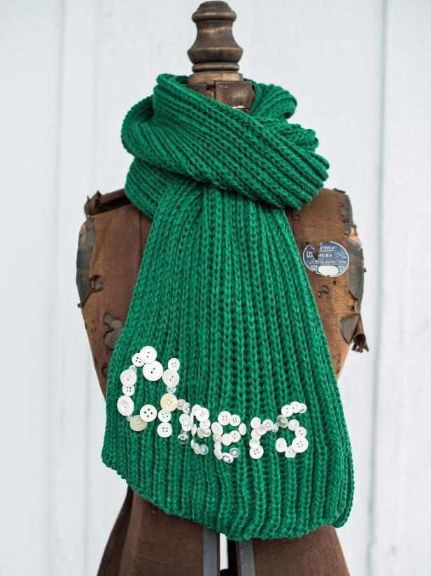 Scarves are a great small gift for friends and family.  Make this gift extra special by personalizing it with a playful message in buttons.  This is a quick handmade gift that will keep the recipient cozy for winters to come.