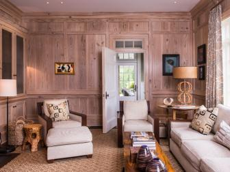 Cypress Paneled Library With Grasscloth Upholstered Furniture