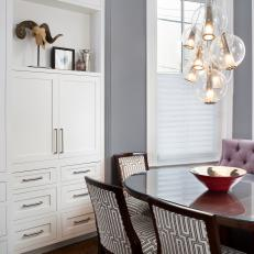 Transitional Breakfast Nook With Globe Cluster Chandelier