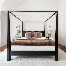 Transitional Master Bedroom With Black Canopy Bed