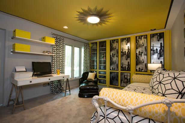 Yellow And Gray Eclectic Teen Bedroom