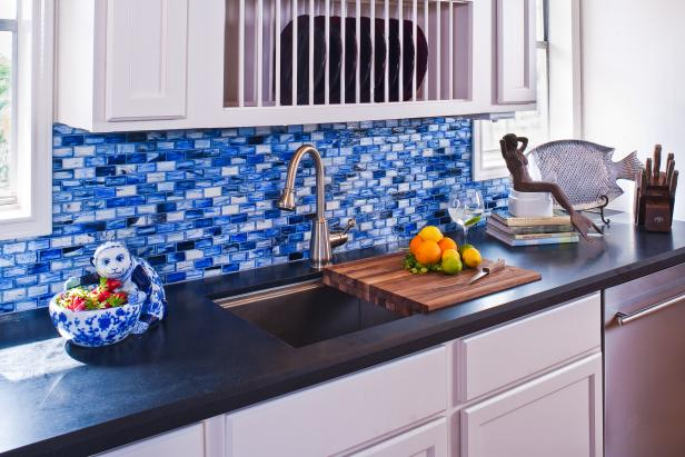 Blue Mosaic Tile Kitchen Backsplash and Sink