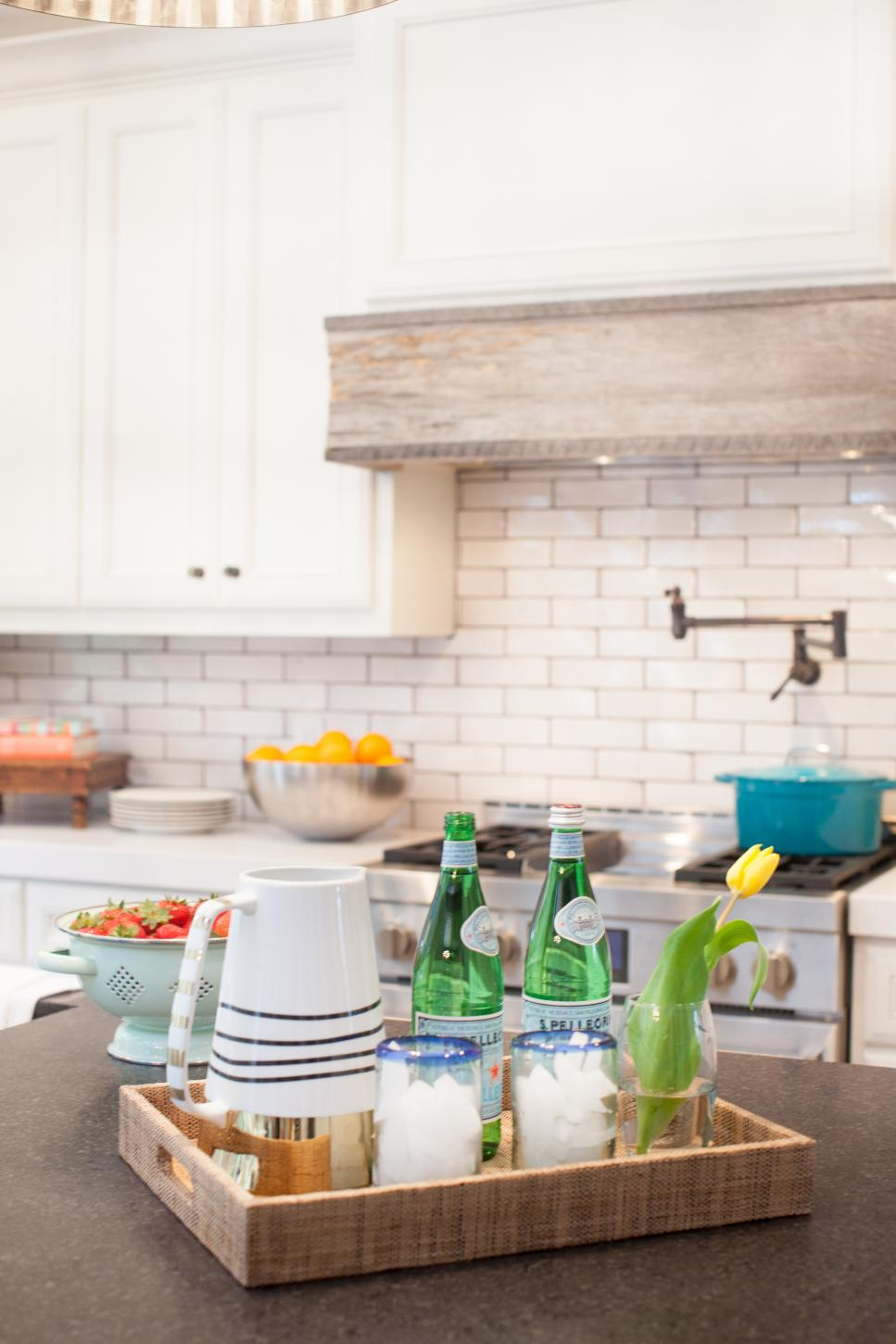 Colorful Servingware Adds Color to Neutral Kitchen
