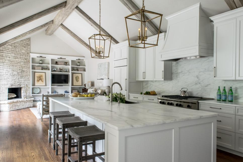 White Contemporary Kitchen With Vaulted Ceilings Hgtv Faces Of