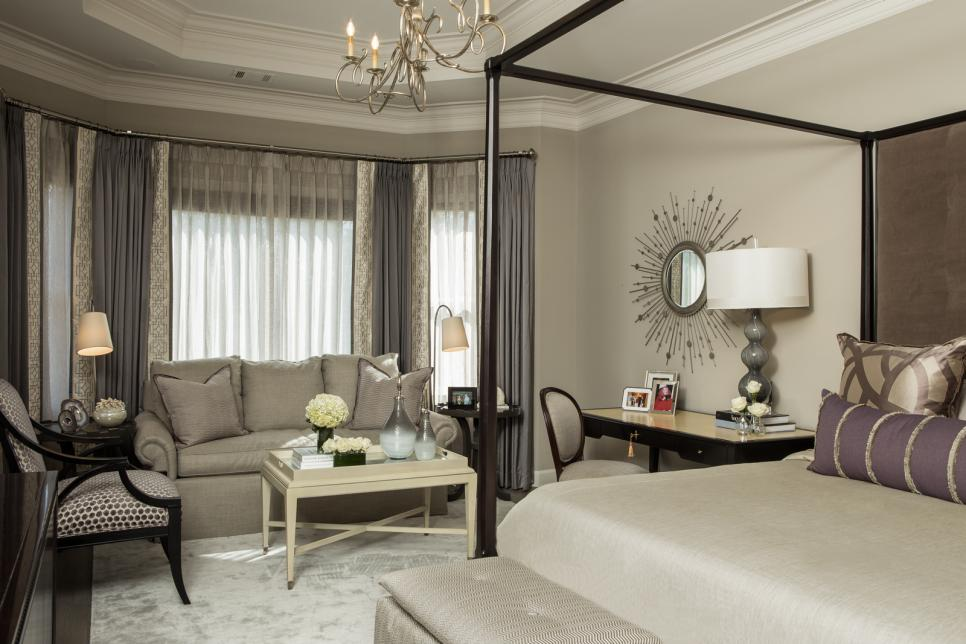 Transitional Gray Master Bedroom With Canopy Bed & Gray Sofa