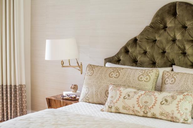 Traditional Master Bedroom With Tufted Headboard
