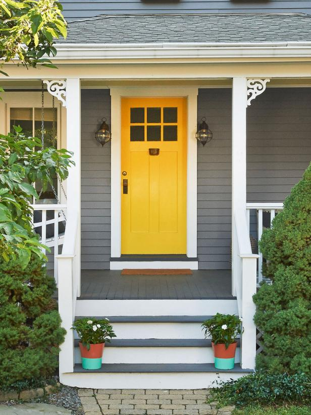 Gray house with yellow front door hgtv - Gray house yellow door ...