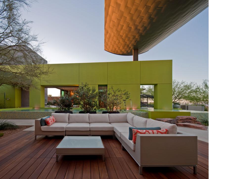 Contemporary Courtyard With Sectional and Green Pool House