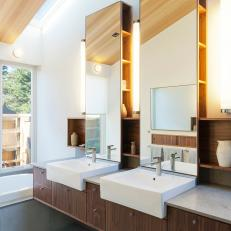 Master Bathroom With Floating Double Vanity