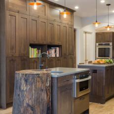Dual Kitchen Islands and Dark Oak Cabinetry